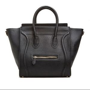 Dailylook black leather structured tote purse